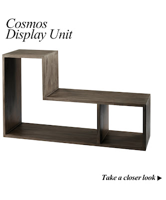 Cosmo Grey Tinted Solid Teak L Shape Display Unit from Furniture123