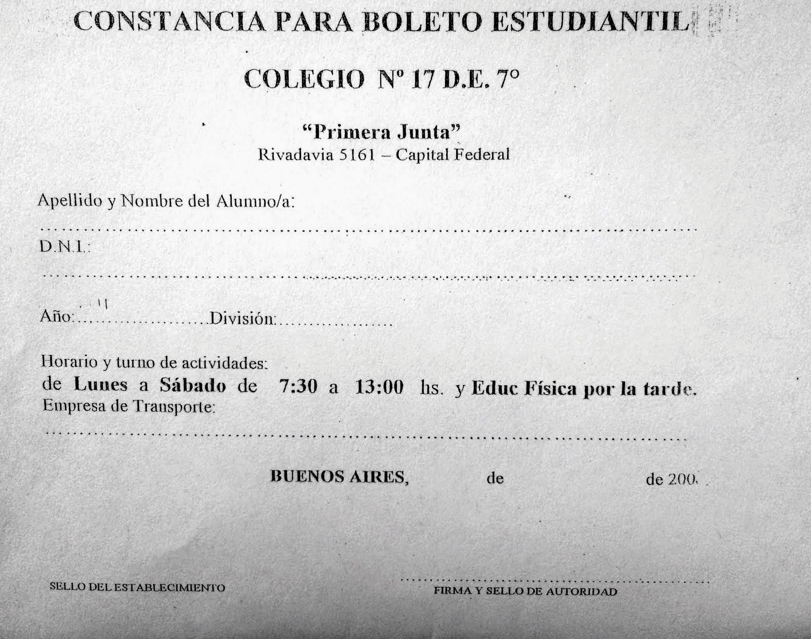 CONSTANCIA PARA EL BOLETO ESTUDIANTIL