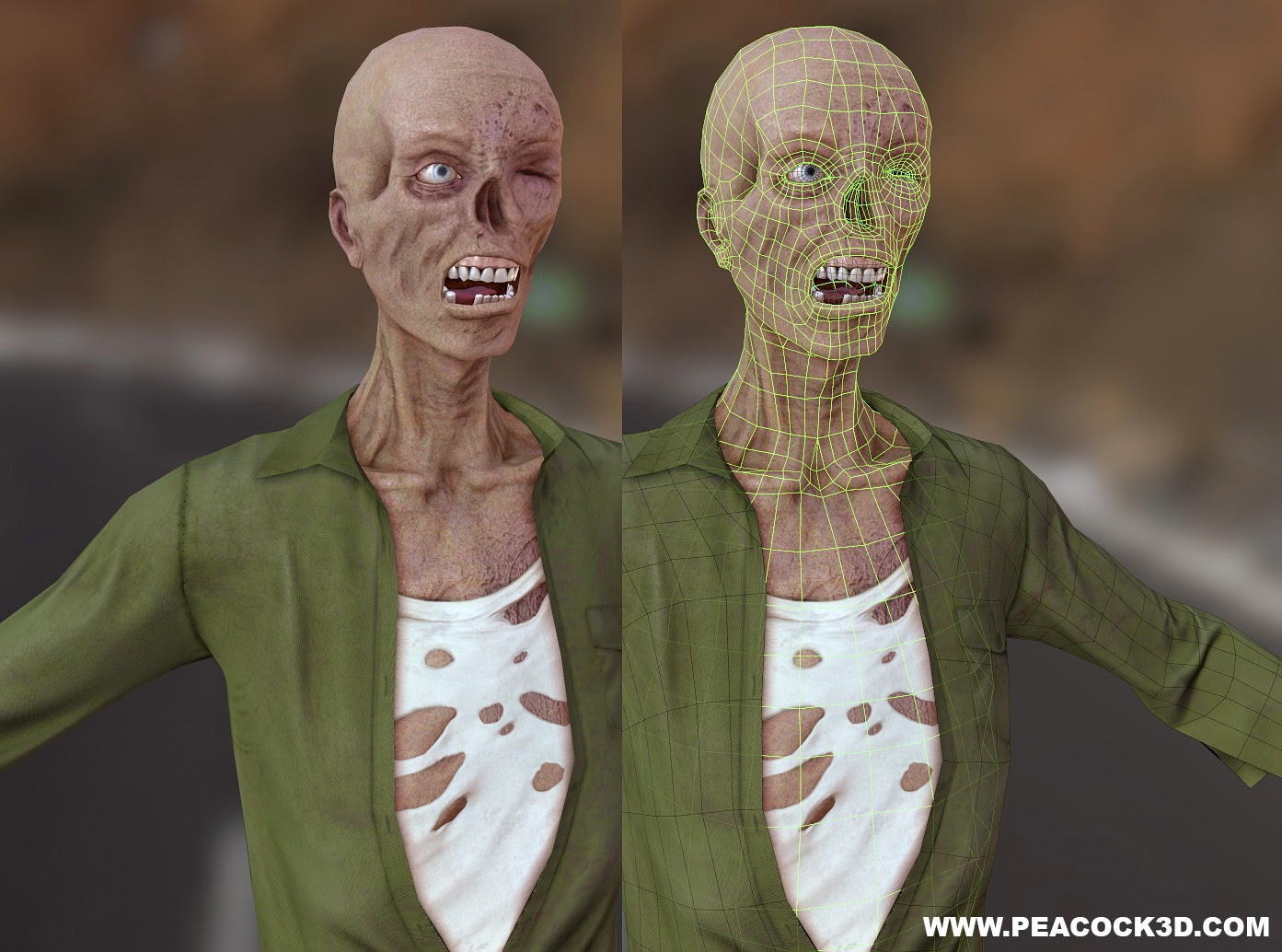 Zombie, Low Poly, ZBrush Zombie, ZBrush, Marmoset Toolbag, Pixologic, Marmoset, Real Time Render, Videogames, Zombie Videogame