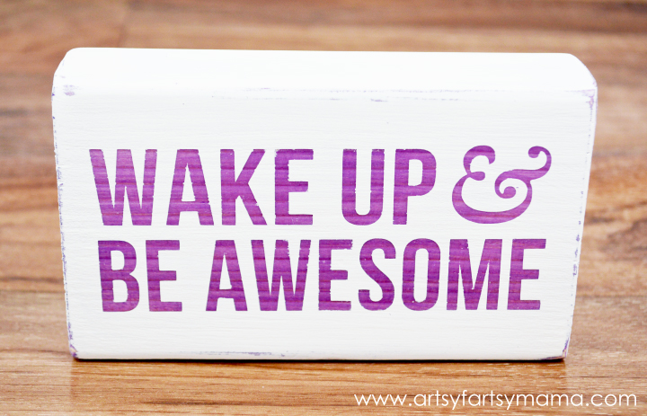 Wake Up & Be Awesome Pen Holder at artsyfartsymama.com #modpodge #plaidcrafts