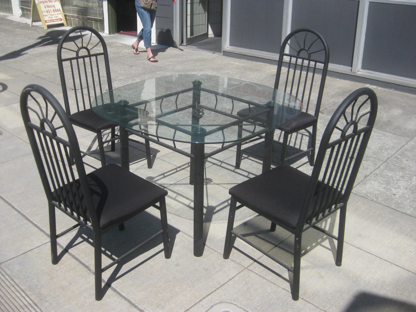 furniture collectibles sold black metal kitchen table chair