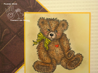 Close up picture of teddy bear image on front of card