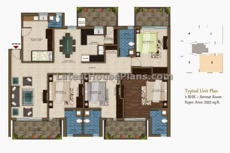 2300 sqft 4 bhk apartment house plan with separate servant for Floor plan for 4bhk house