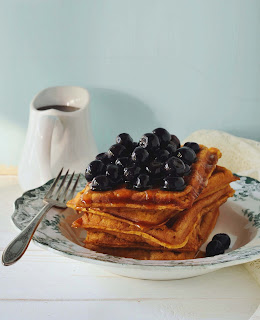 Sweet Potato Waffles with blueberries
