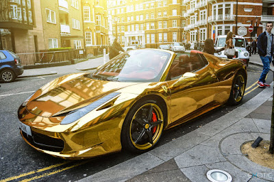 A gold chrome-plated Porsche.