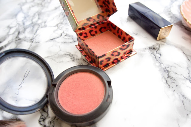 MAC springsheen and benefit coralista. Beautiful peachy coloured blushes with shimmery highlights for that gorgeous pop of summer colour on the cheeks.