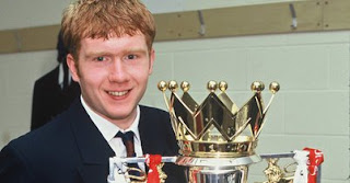 A young Paul Scholes with the English Premier Division Trophy