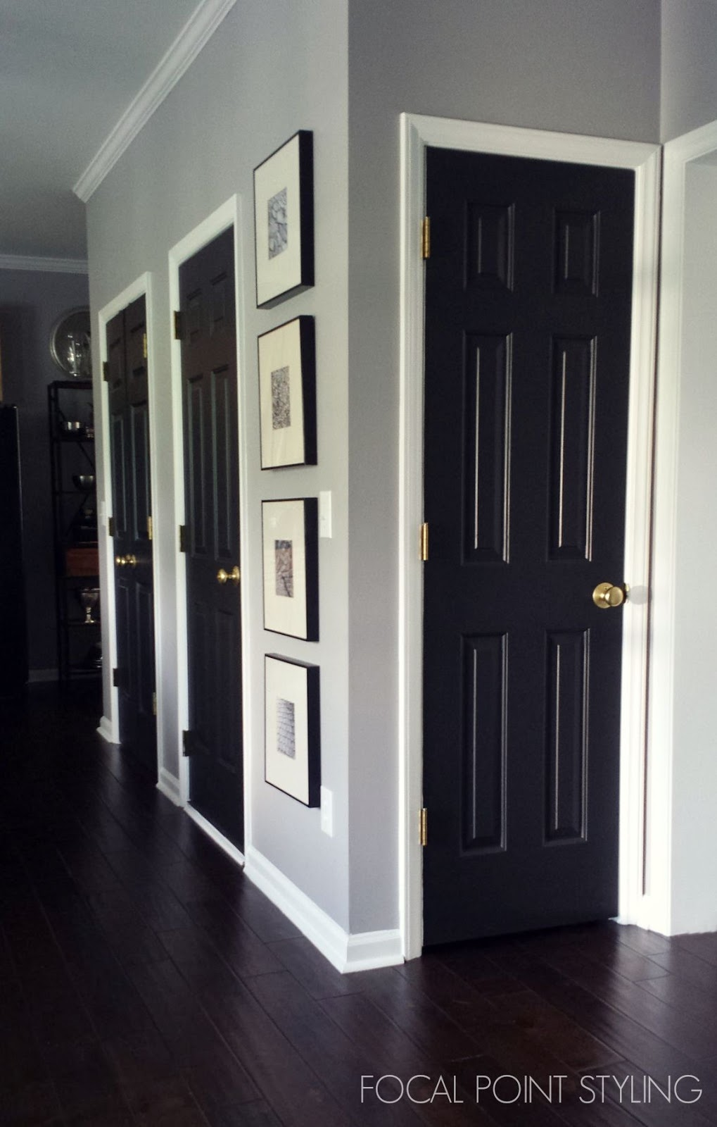 Focal point styling how to paint interior doors black update brass hardware - Sophisticated black interior doors ...