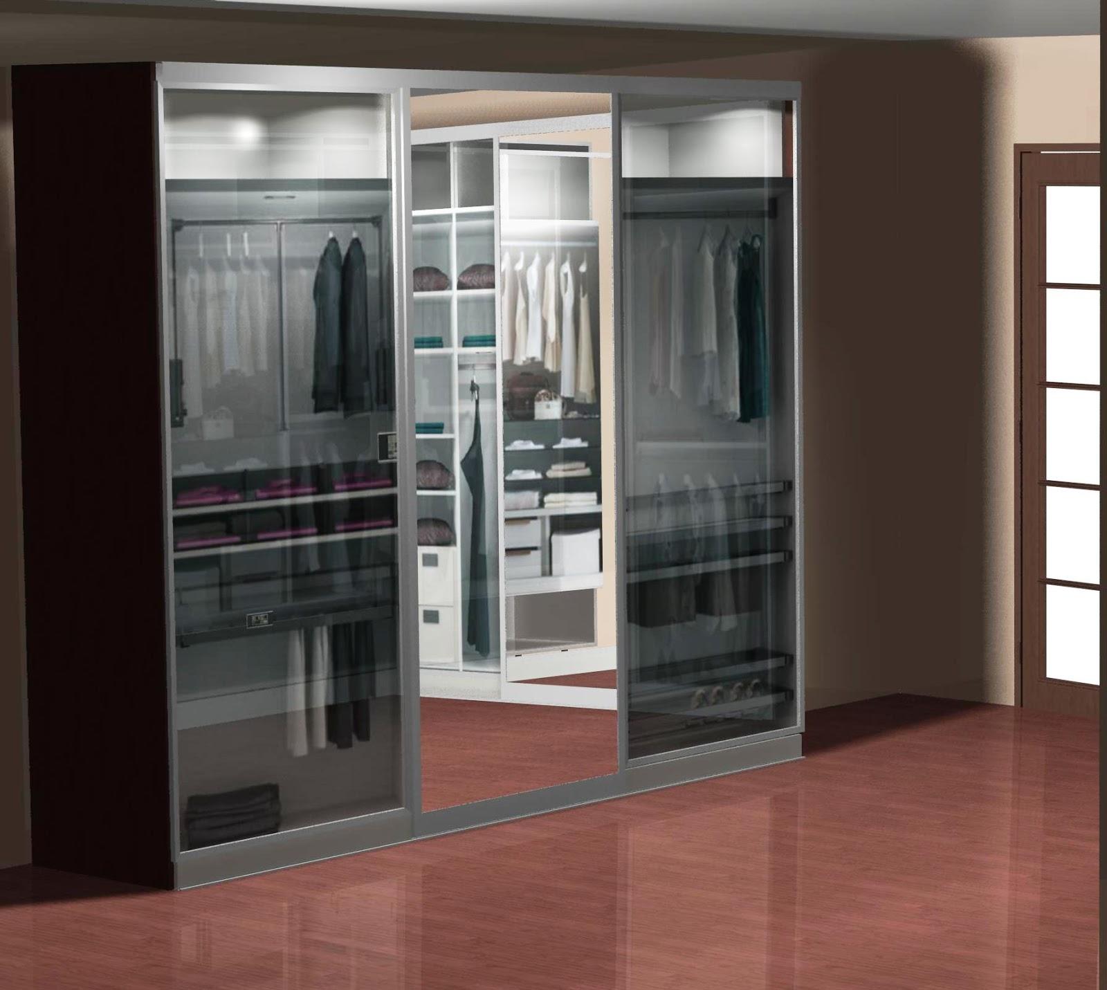Dise o de vestidor con puertas correderas con espejo central - Puertas correderas de diseno ...