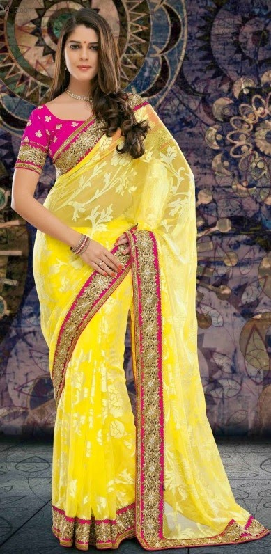 Brasso Yellow Designer Embroidery Saree with Unstitched Blouse