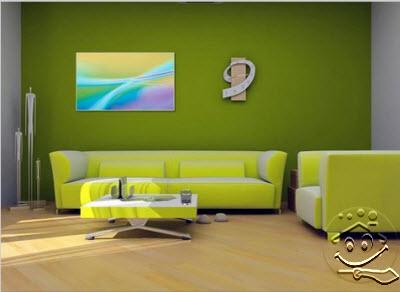 rumahku-syurgaku: dekorasi ruang tamu berwarna hijau