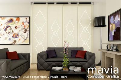 ... Tende a pannelli moderne in salotto soggiorno con caminetto in marmo