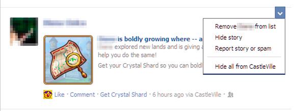 Optiunea Hide all from ascunde update-urile din news feed provenite de la jocurile din Facebook