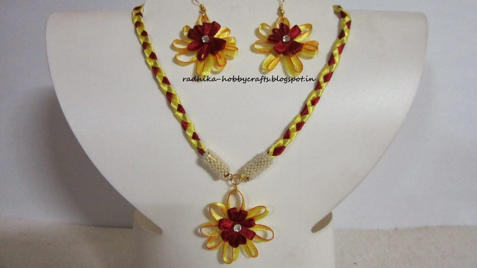 flower satin jewelry product set ribbon madeheart handmade earrings en kanzashi dsc of necklace and fabric