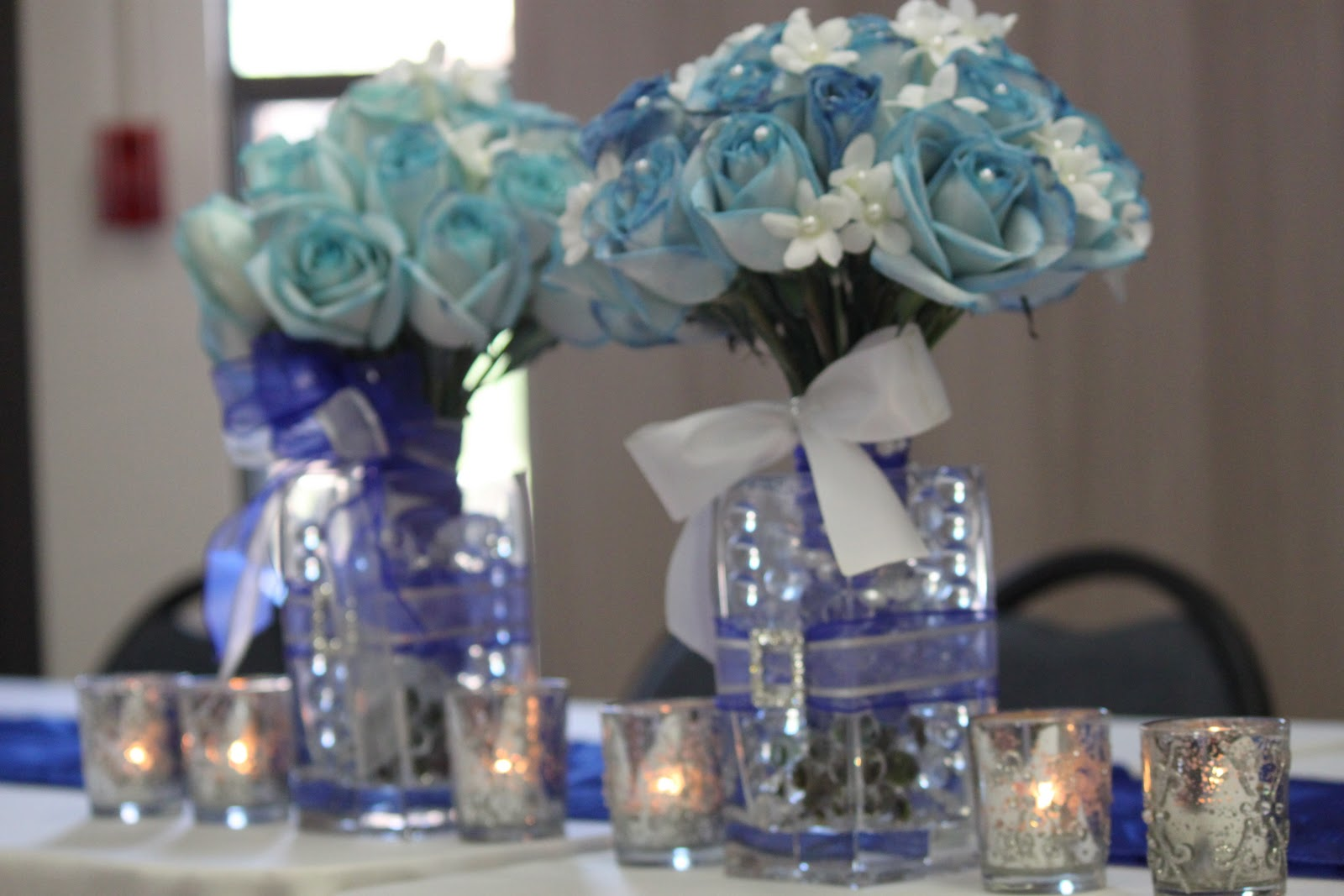 2019 year look- Blue royal and silver wedding centerpieces photo