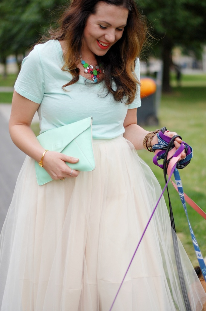 DIY tulle skirt, Old Navy mint top, Aldo floral heels Vancouver fashion blog Covet and Acquire