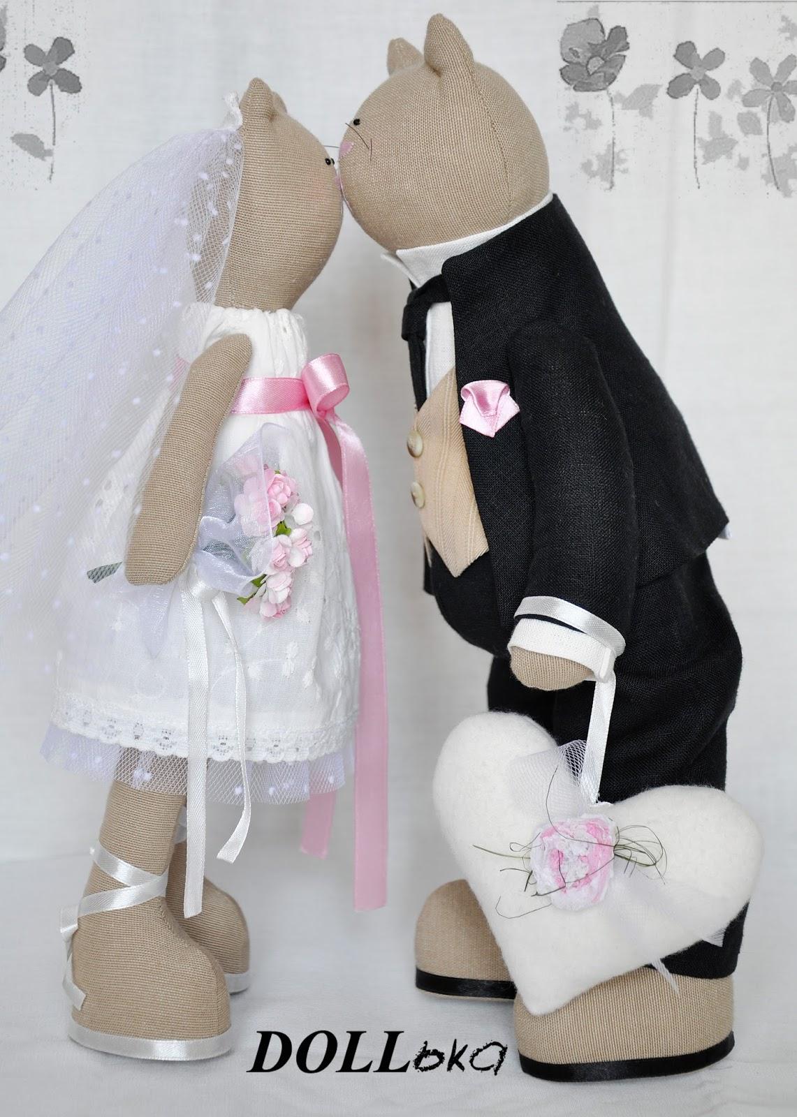 кошачья свадебная пара игрушки ручной работы