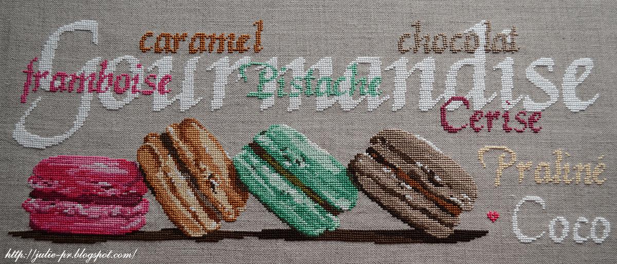 Isabelle Vautier, Gourmandise, Изабель Вотье, Иза Вотье, дизайн Изы, вышивка крестом, макаронс, macarons, французская вышивка, французский дизайн