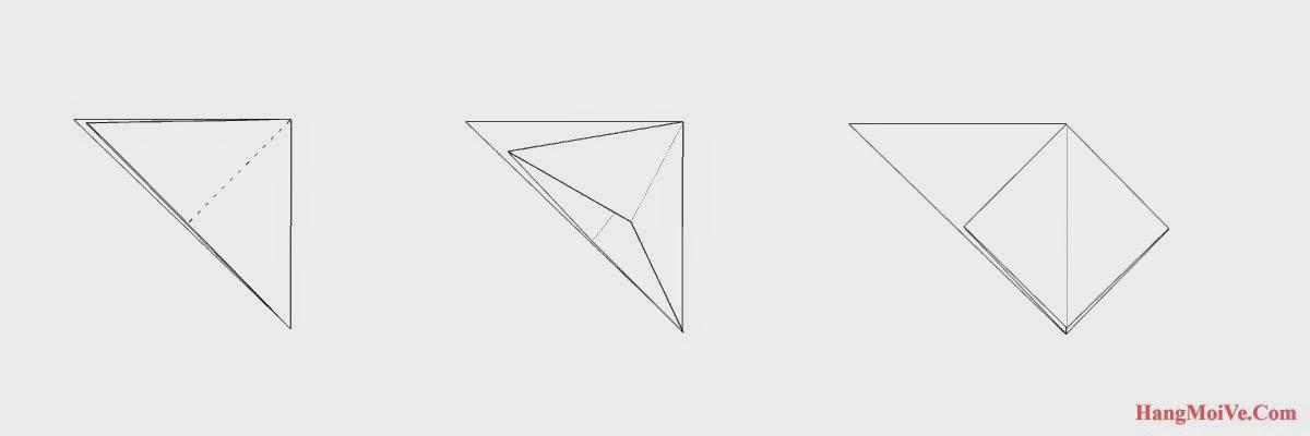 Bước 3: Từ hình 1 ta mở lớp giấy trên cùng theo chiều từ trong ra ngoài (hình 2) hướng sang bên phải ta được như hình 3.