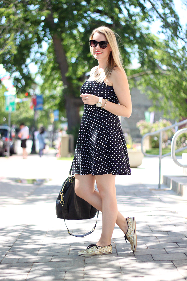 Black & White Polka Dot Dress, Kate Spade Gold Glitter Keds