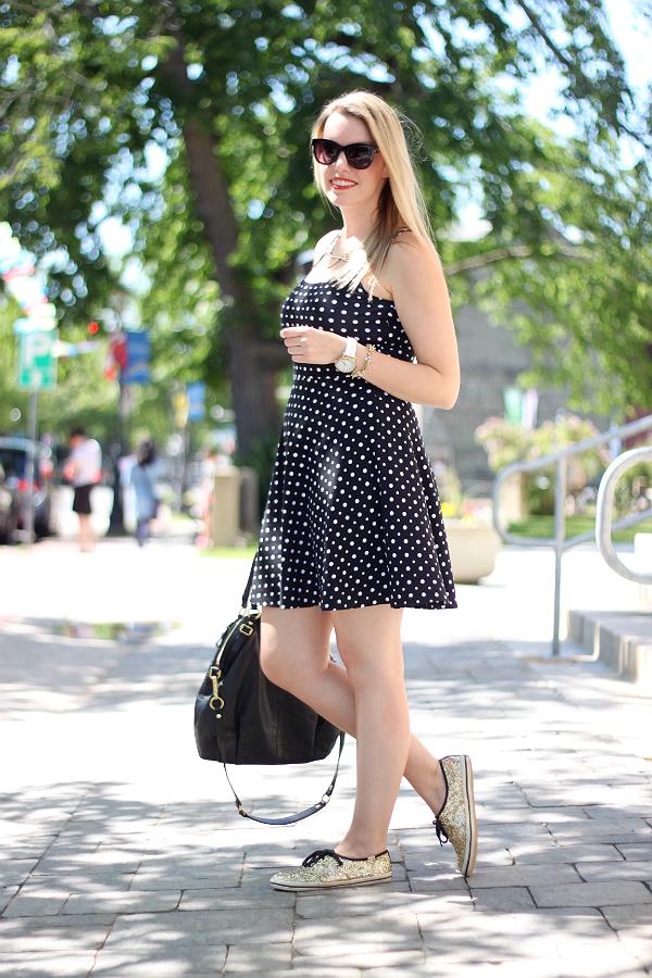 Black & White Polka Dot Dress, Kate Spade Gold Glitter Keds