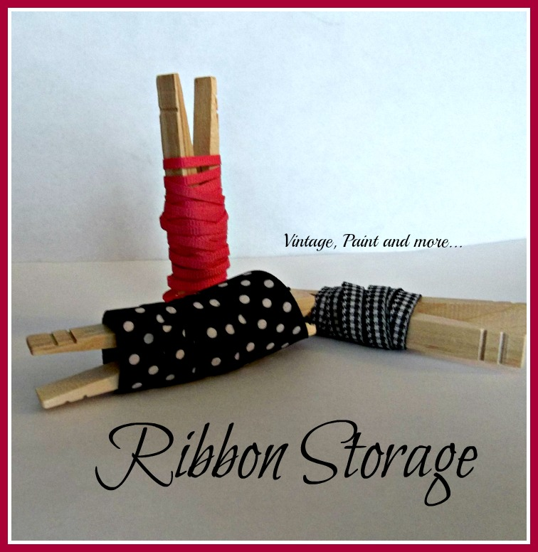 Vintage, Paint and more... organizing your ribbons with clothespins and a thrifted canister set
