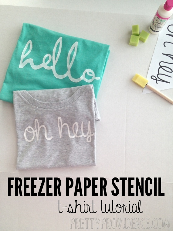 "freezer paper stencil shirt DIY with ""hello"" or ""oh hey"" templates free to download & use to make your own. such a fun and easy project! www.prettyprovidence.com"