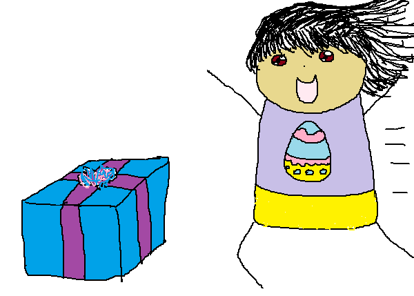 A kid dressed in Easter pyjamas running towards the Easter present.