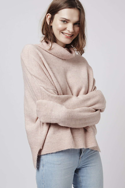 pale pink roll neck jumper, pale pink zip back jumper, pastel pink jumper topshop,