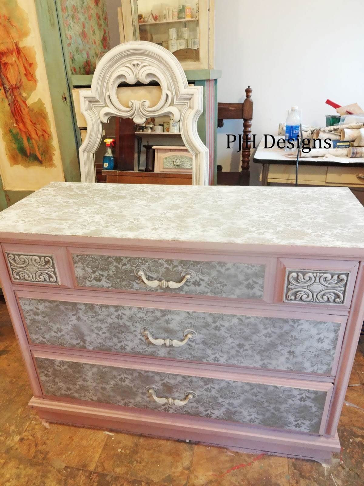 PJH Designs Hand Painted Antique Furniture Antoinette Pink Lace Bedroo