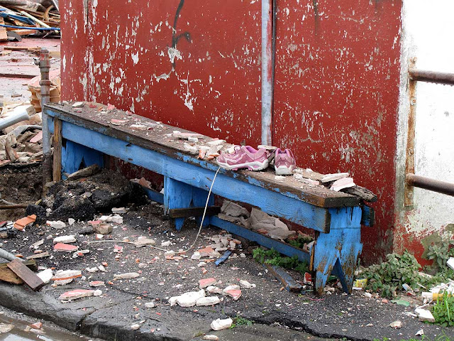 Bench amid rubble (with shoes), Livorno