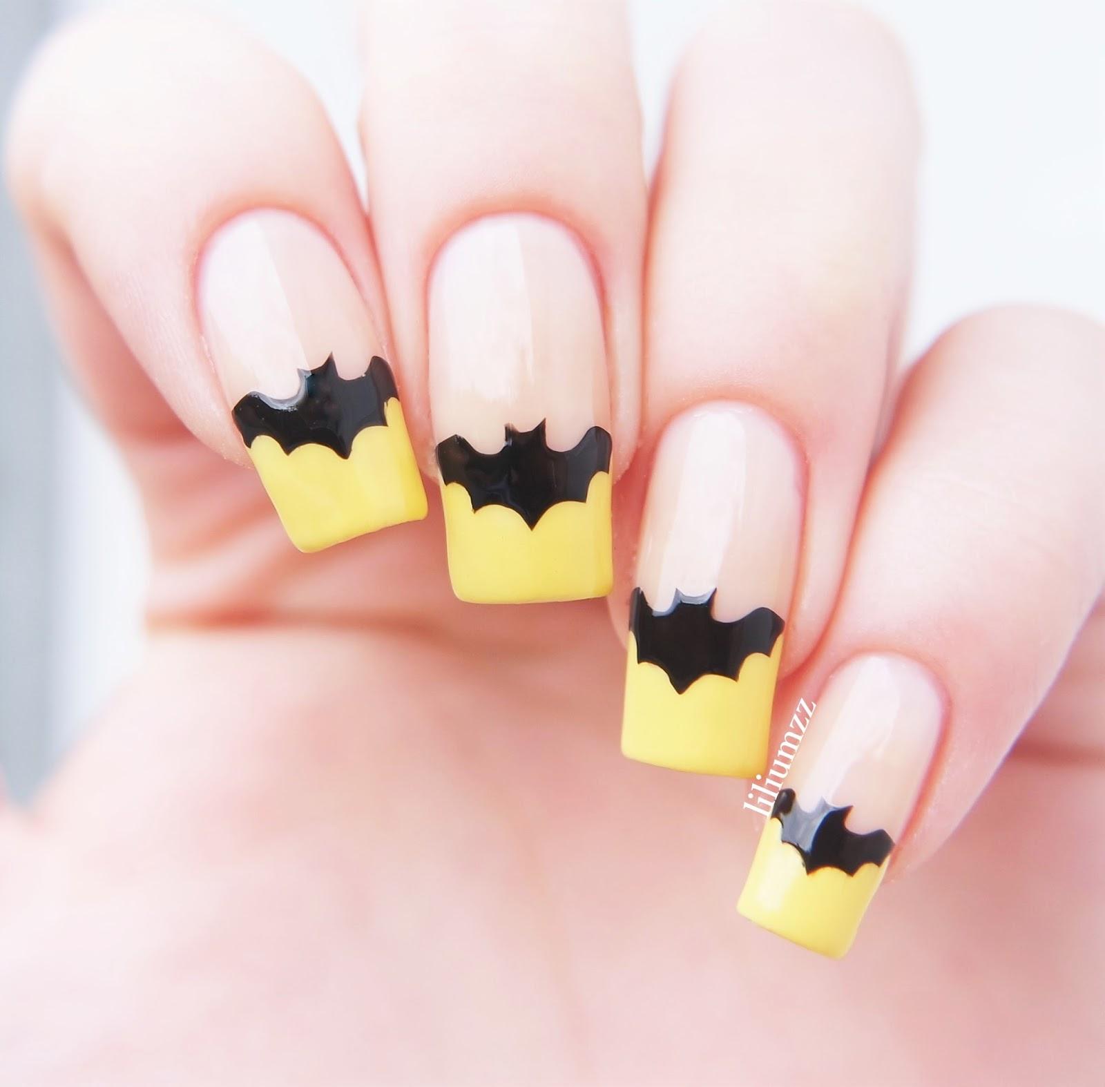 Liliumzz: French Nail Art with a Twist // Yellow Batnails