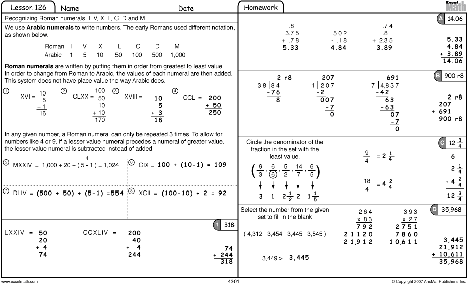 Excel Math Roman Numerals and the Olympics – Math Olympics Worksheets
