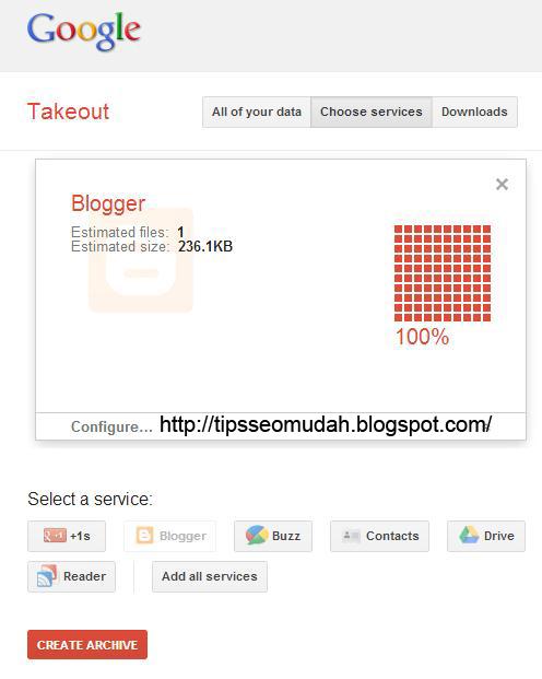 gambar penjelas halaman backup google takeout