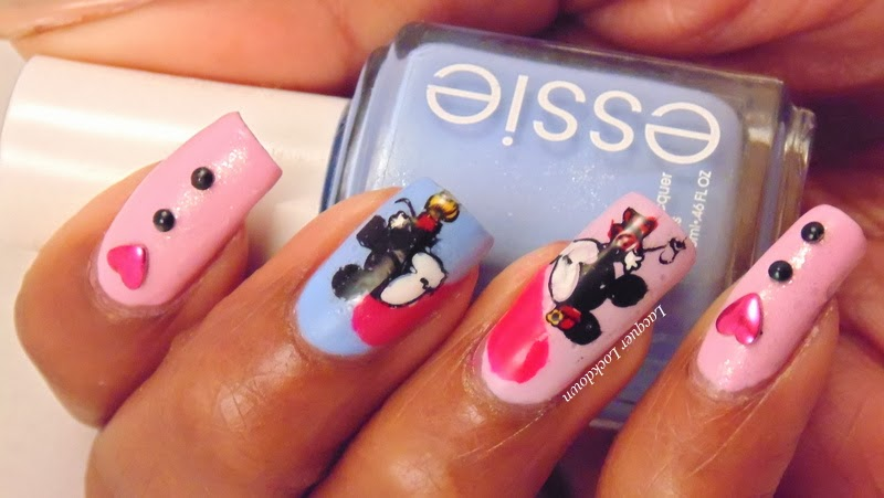 Lacquer lockdown valentines day nail art 3 minnie mickey lacquer lockdown minnie mouse mickey mouse essie french affair essie go ginza prinsesfo Image collections