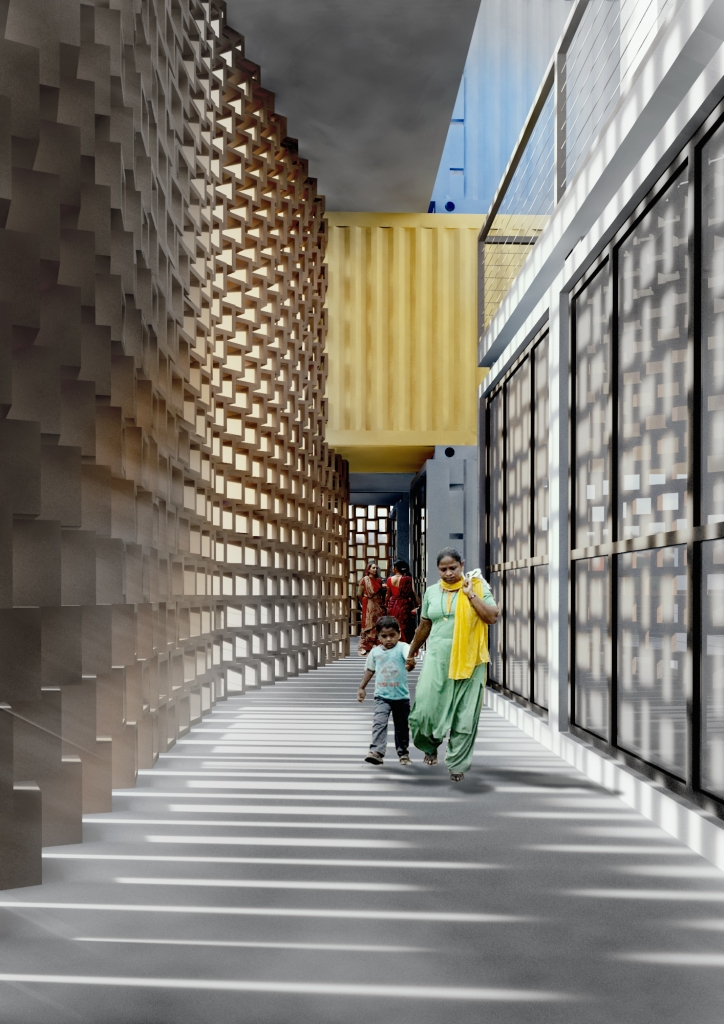 05-Corridor-Ganti-and-Associates-Architecture-Recycled-Container-Skyscraper-Homes-www-designstack-co
