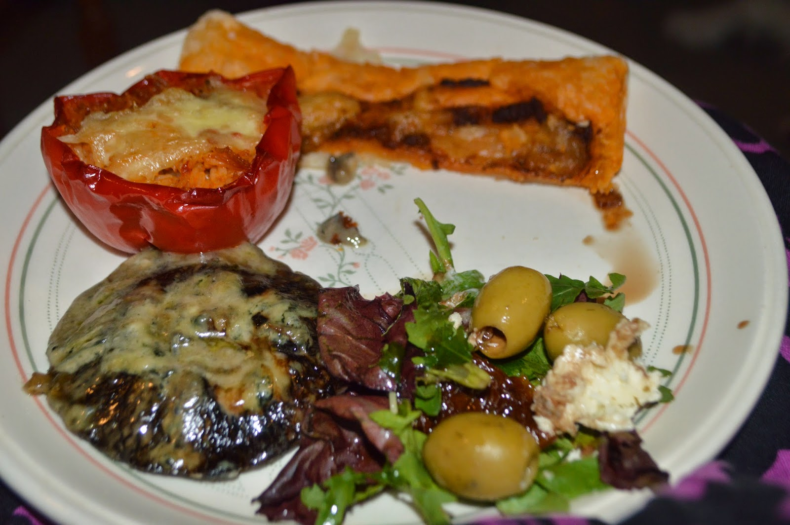 Dirty Dancing Style Cinema Night Stuffed Peppers Grilled Mushroom Pesto Tart Olives