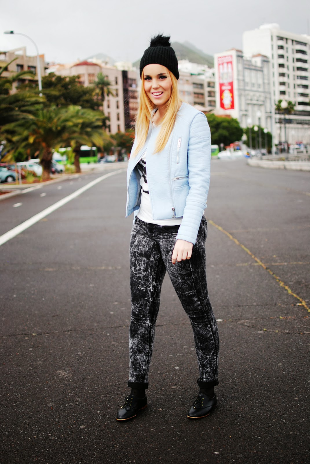 nery hdez, vjstyle, beanie, oxford shoes, blue biker, baby blue