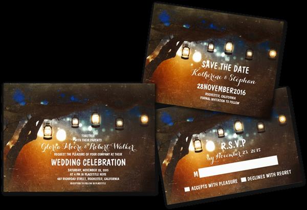 rustic garden lights lanterns wedding invites - Lantern Wedding Invitations