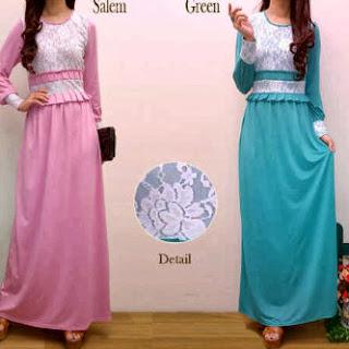 Salma Maxi Dress - Maxi Bahan Spandek Korea kombinasi Brukat