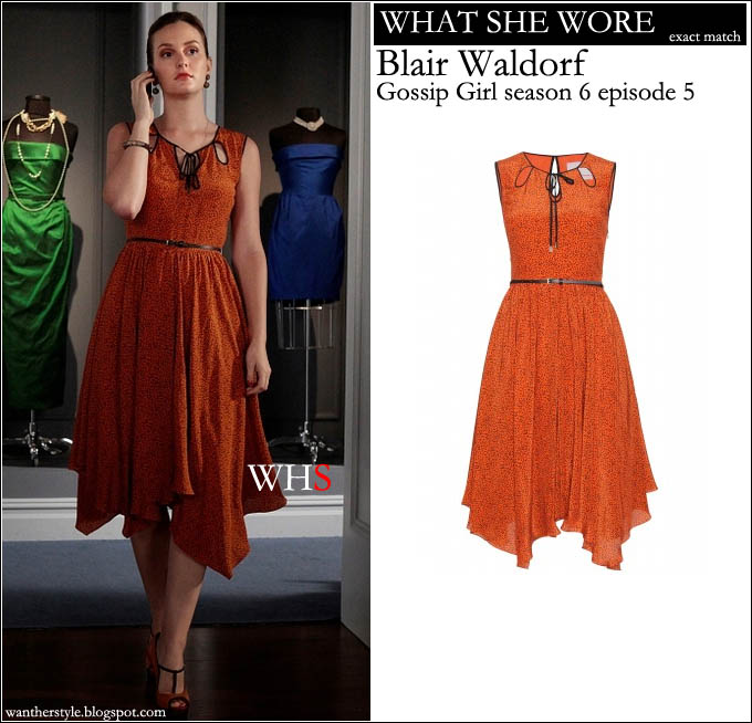 WHAT SHE WORE: Blair Waldorf in orange belted dress with uneven hem ...