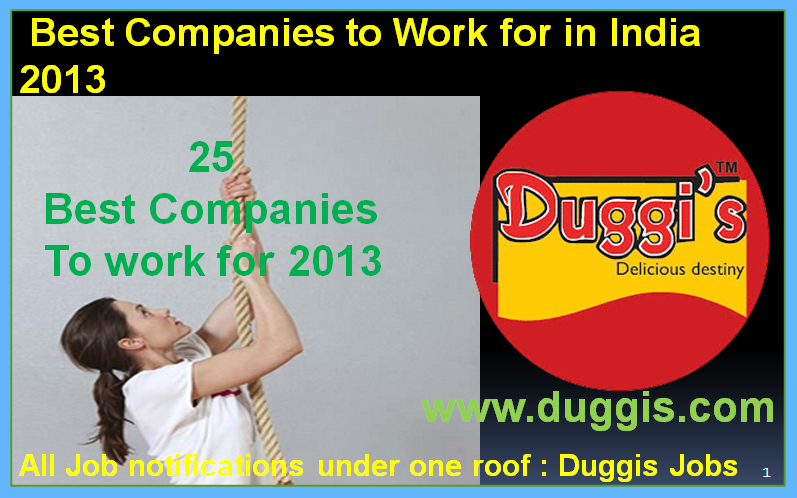 Duggis Jobs: Best Companies to Work for in India 2013