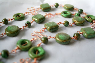 A touch of Autumn: copper, ceramic, necklace, wire wrapping :: All Pretty Things