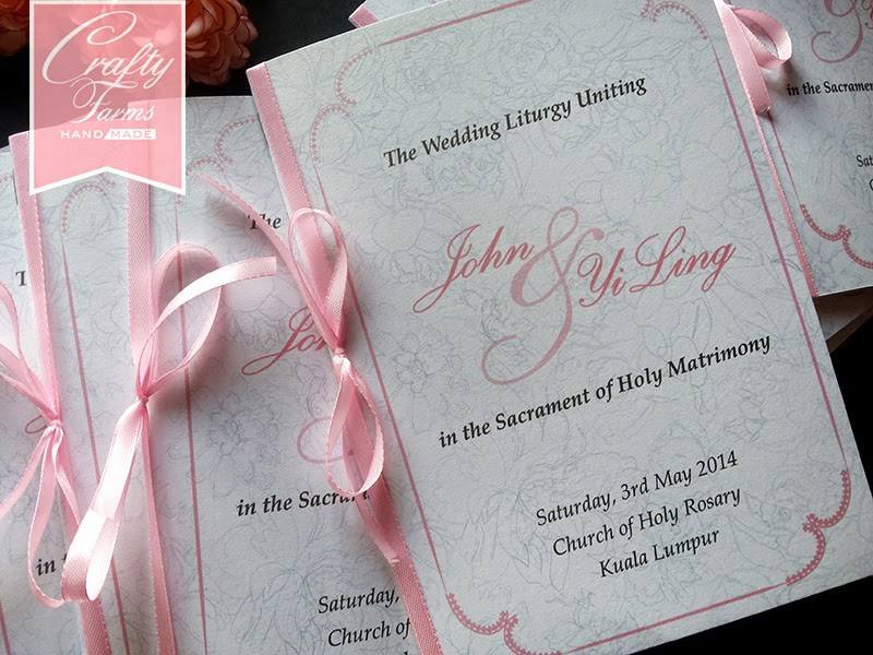 Soft Pink Peonies florals Themed Church Wedding Program Booklet with Ribbon
