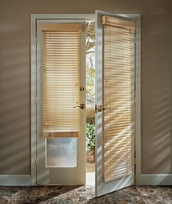 Simple  Wooden blinds on French doors