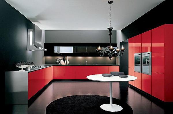 Red And Black Kitchen Interior Designs Modern Style Ideas