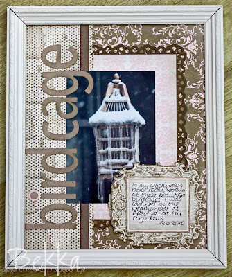 Birdcage Scrapbook Page in a frame