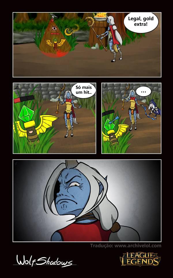 Soraka suporte, ashe adc, tirinha do lol, league of legends. Subir de Elo. Gold extra por destruir uma ward :D
