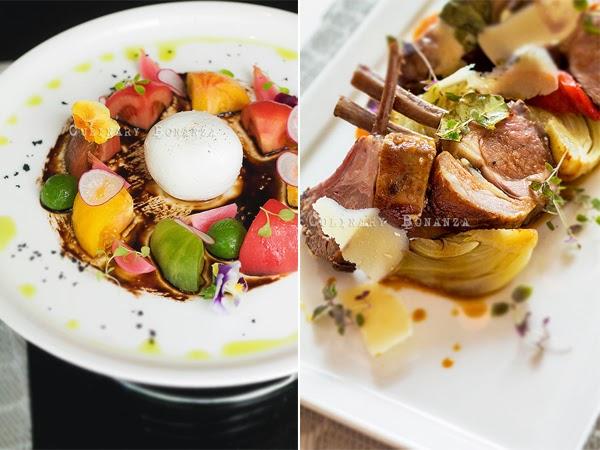 Left: Antipasto Freddo Burrata Bufala Di Campania | Right: Roasted Lamb, parmigiano reggiano, fennel &  red pepper confit, honey natural jus