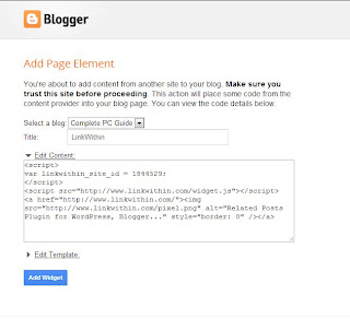 Import Page Element displaying Edit Content option